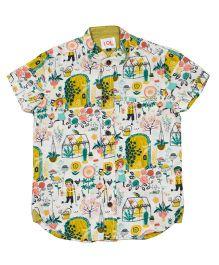 LOL Half Sleeves Printed Shirt - Cream & Yellow