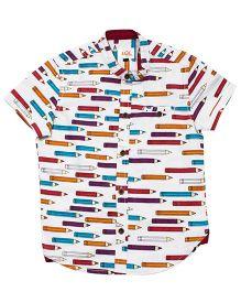 LOL Half Sleeves Shirt Allover Pencil Print - White & Multicolor