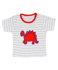 LOL Half Sleeves T-Shirt Dino Embroidery - Cream