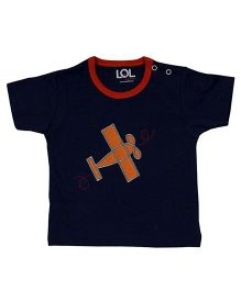 LOL Half Sleeves T-Shirt Airplane Embroidery - Navy Blue