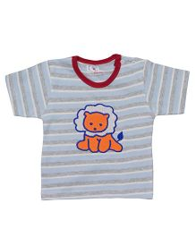 LOL Half Sleeves T-Shirt Lion Embroidery - Multicolor