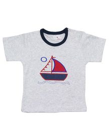 LOL Half Sleeves T-Shirt Boat Embroidery - Grey