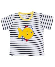 LOL Half Sleeves Striped T-Shirt Fish Embroidery - Cream
