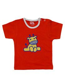LOL Half Sleeves T-Shirt Animal Embroidery - Red