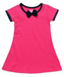 Babyhug Short Sleeves Nighty Dots Print - Dark Pink