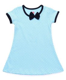 Babyhug Short Sleeves Nighty Dots Print - Blue