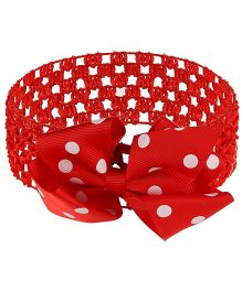 Little Cuddle Crochet & Bow Flower Headband - Red