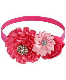 Little Cuddle Flower Applique Party Headband - Dark Pink