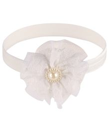 Little Cuddle Flower & Bead Headband - White