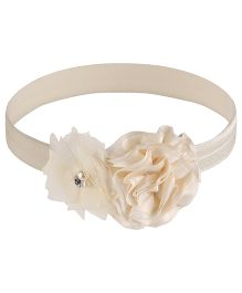 Little Cuddle Flower & Rose Design Headband - Cream