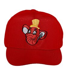 Imagica Elephant Print Kids Cap - Red