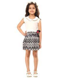 Kids On Board Chevron Print Dress - White & Black