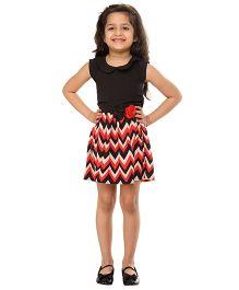 Kids On Board Chevron Print Dress - Red & Black