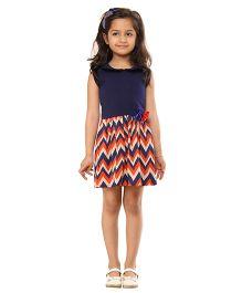 Kids On Board Chevron Print Dress - Orange & Navy