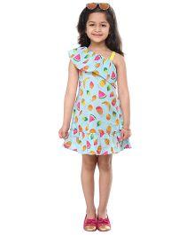 Kids On Board Fruit Print Dress - Blue
