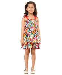 Kids On Board Abc Print Ruffled Dress - Multicolor
