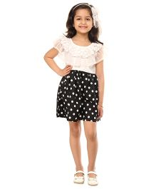 Kids On Board Party Dress With Ruffles - White & Black