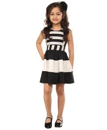 Kids On Board Striped Dress With Stylish Back - White & Black