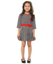 Kids On Board Houndstooth Dress - White & Black