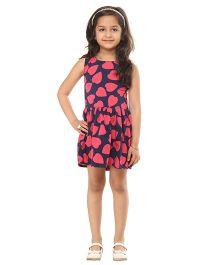 Kids On Board Heart Print Dress - Navy