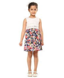 Kids On Board Floral Dress With Net Top - Multicolor