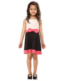 Kids On Board Elegant Party Dress With Bow - White & Black