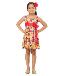 Kids On Board Floral Dress With Bow - Yellow