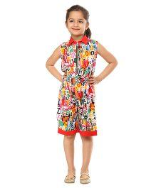 Kids On Board Abc Print Half Jumpsuit - Multicolor