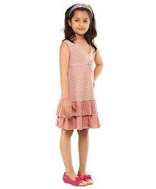 Kids On Board Striped Jersey Dress With Ruffles - Pink