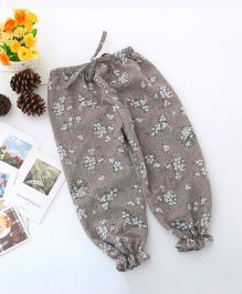 Dazzling Dolls Floral Printed Ankle Length Harem Pants - Grey
