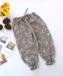 Dazzling Dolls Floral Printed Ankle Length Harem Pants - Grey