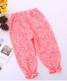Dazzling Dolls Floral Printed Ankle Length Harem Pants - Pink