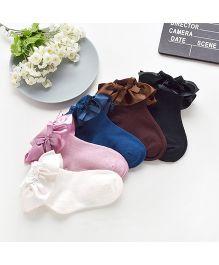 Dazzling Dolls Set Of 5 Ruffled Lace & Bow Socks - Multicolour