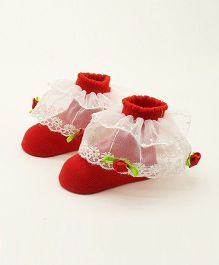 Dazzling Dolls Embroidered Ruffled Lace Party Socks - Red