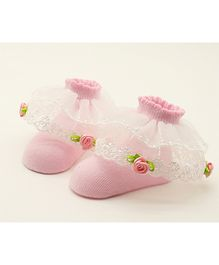 Dazzling Dolls Embroidered Ruffled Lace Party Socks - Pink