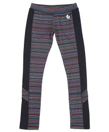 Tyge Contrast Printed Sports Track Pants - Black