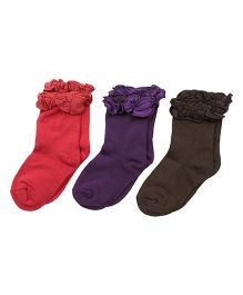 Footprints Super Soft Organic Cotton And Bamboo Socks Pack of 3 - Pink Purple Brown