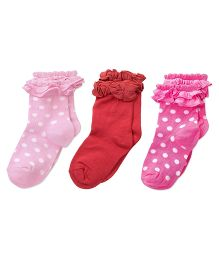 Footprints Super Soft Organic Cotton And Bamboo Socks Pack of 3 - Pink Red