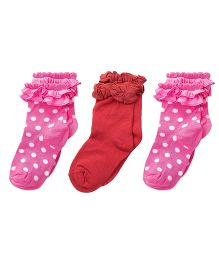 Footprints Super Soft Organic Cotton And Bamboo Socks Pack of 3 - Red Pink