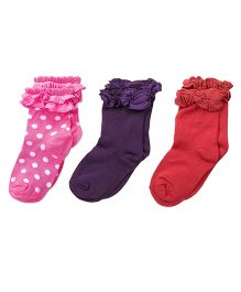 Footprints Super Soft Organic Cotton And Bamboo Socks Pack of 3 - Pink Purple Red