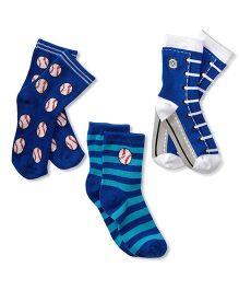 Footprints Organic Cotton And Bamboo Socks Baseball Print Pack Of 3 - Blue