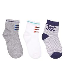 Footprints Organic Cotton And Bamboo Socks Shoe Design Pack Of 3 - Grey White