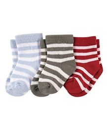 Footprints Organic Cotton And Bamboo Socks Stripes Design Pack Of 3 - Grey Red Blue