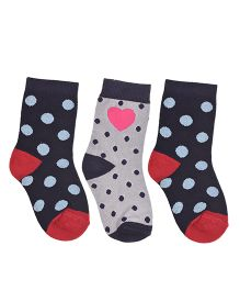 Footprints Organic Cotton And Bamboo Socks Dots Design Pack Of 3 - Grey Blue