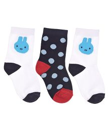 Footprints Organic Cotton And Bamboo Socks Dots Design Pack Of 3 - White Blue
