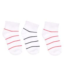 Footprints Organic Cotton And Bamboo Socks Lines Design Pack Of 3 - White