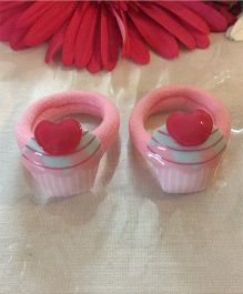 Angel Closet Cup Cake Design Rubberbands Pair - Pink