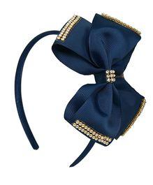 Angel Closet Bow Hairband With Rhinestone - Blue