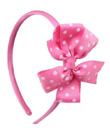 Angel Closet Polka Dots Bow Hairband - Pink