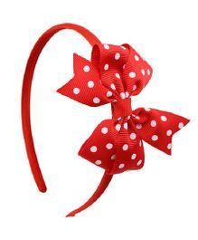 Angel Closet Polka Dots Bow Hairband - Red